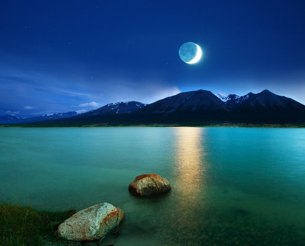 mountain and moon