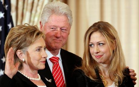 —The Clintons: Ex. President Bill Clinton, Ex. Secretary of State Hilary Clinton and their daughter Chelsea Clinton